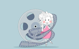 Oops... girl wrapped in a film reel. Vector illustration of an girl wrapped in a film reel stock illustration