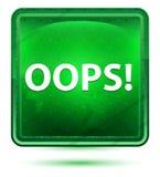 Oops! Hellgrüner quadratischer Neonknopf stock abbildung