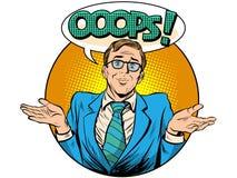 Oops hombre de negocios sorprendido ilustración del vector