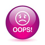 Oops icon button stock image