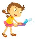 Oops. Illustration of girl spilling her food Stock Images