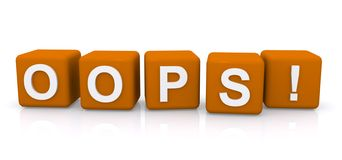 Oops. An illustration of letter cubes with the word oops Stock Photography
