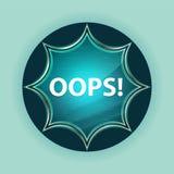 Oops! magiczny szklisty sunburst błękitny guzika nieba błękita tło ilustracja wektor