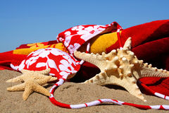 Oops! No bikini top. Bikini top, starfish with beach towel in the sand stock photos