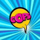Oops ouch comic text radial backdrop. Oops, ouch, Comic text speech bubble balloon. Pop art style wow banner message. Comics book font sound phrase template Royalty Free Stock Image