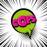 Oops ouch comic text stripperd backdrop. Oops, ouch Comic text speech bubble balloon. Pop art style wow banner message. Comics book font sound phrase template Royalty Free Stock Image