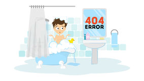 Oops, page not found. Oops, page not found concept. Funny cartoon man in the bathroom washing in the bath tub. 404 error Stock Image
