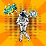 Oops pop art astronaut soaring. Spaceman cosmonaut superhero explore adventure. engraved hand drawn in old sketch royalty free illustration