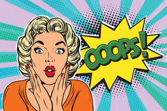 Oops pop art blond woman Royalty Free Stock Image