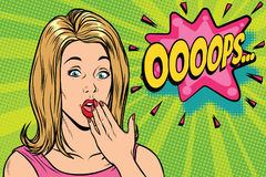 Oops Pop art kitsch woman Royalty Free Stock Images