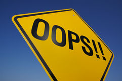 Oops! Road Sign Royalty Free Stock Photography