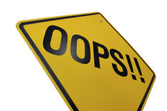 Oops! Road Sign. Isolated on white Background-includes clipping path Royalty Free Stock Images