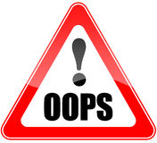 Oops sign. Isolated over white Royalty Free Stock Photos