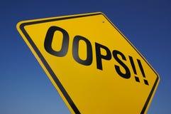 Oops ! Signe de route Photographie stock libre de droits