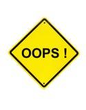 Oops sinal amarelo do erro no branco Imagens de Stock