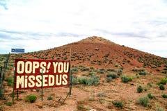 OOPS! VOCÊ FALTOU a paisagem EUA dos E.U. o Arizona Fotografia de Stock Royalty Free