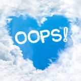 Oops word on blue sky Royalty Free Stock Photo
