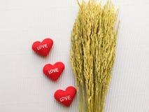 Oor van rijst en liefde drie teken die hart tonen Royalty-vrije Stock Fotografie