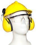 Oorbeschermer, eyewear en helm op ledenpop Stock Foto