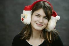 Oorbeschermer met de Kerstman stock foto