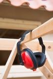 Oorbescherming voor lawaai stock afbeelding