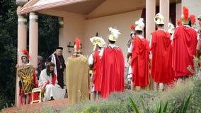 Oordeel Christus, theatrale vertegenwoordiging van de Hartstocht stock videobeelden