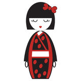 OOriental Japanese geisha doll with kimono with oriental accessories and bow hair element inspired by Asian tradition. Oriental Japanese geisha doll with kimono royalty free illustration