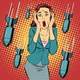Oorlog die de burgerlijke verschrikking van de vrouwenpaniek bombarderen royalty-vrije illustratie
