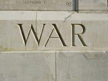 Oorlog die in gedenkteken wordt gesneden Royalty-vrije Stock Afbeeldingen