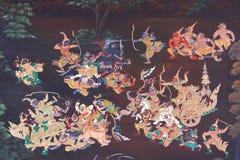 Oorlog in het traditionele Thaise stijlkunst schilderen stock afbeeldingen