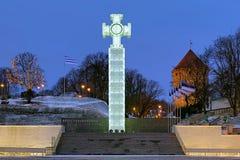 Oorlog van de Kolom van de Overwinning van de Onafhankelijkheid in Tallinn, Estland stock foto