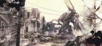 Oorlog van robotsillustratie het schilderen stock illustratie