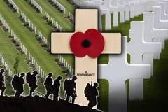 Oorlogsbegraafplaats - Gevallen Helden - Herinnering Royalty-vrije Stock Fotografie