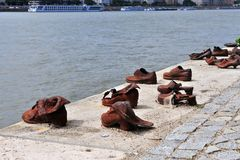 Oorlogsgedenkteken op de rivier van Donau, Boedapest Royalty-vrije Stock Afbeeldingen