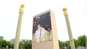 Oorlogsgedenktekens in Chennai in India Rajiv Gandhi Memorial - Rajiv Gandhi, de vroegere Eerste minister van India stock footage