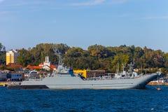 Oorlogsschip in haven Royalty-vrije Stock Foto