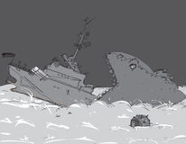 Oorlogsschip het Dalen Royalty-vrije Stock Afbeeldingen
