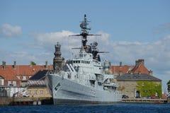 Oorlogsschip in Kopenhagen Stock Foto