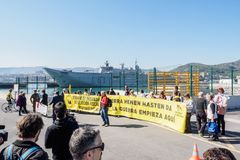 Oorlogsschipprotest stock afbeeldingen