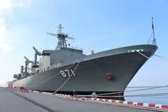 Oorlogsschipverblijf op de Golf van Thailand stock afbeelding
