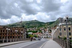 Oorlogsverwoesting, Mostar, Bosnië-Herzegovina royalty-vrije stock fotografie