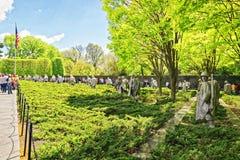 Oorlogsveteranen en het Koreaanse Gedenkteken van Oorlogsveteranen in Washington royalty-vrije stock fotografie