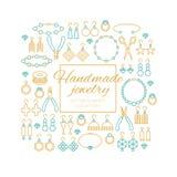 Oorringen, armbanden, halsbanden, tegenhangers, ringen met parels en diamanten stock illustratie