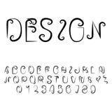 Oorspronkelijke Brieven Modern abstract alfabet met Latijnse letters en getallen Royalty-vrije Stock Afbeelding