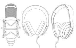 Oortelefoons en microfoon Royalty-vrije Stock Afbeelding