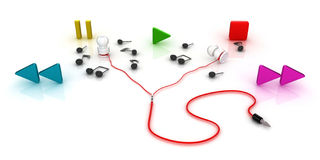 Oortelefoons met nota's en spel, einde, pauze, vooruit en achteruit symobls stock illustratie