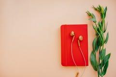 Oortelefoons met notitieboekje stock fotografie