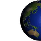 Oost-Azië en Australië op model van Aarde met in reliëf gemaakt land Royalty-vrije Stock Afbeeldingen