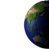 Oost-Azië en Australië op model van Aarde met in reliëf gemaakt land Royalty-vrije Stock Afbeelding
