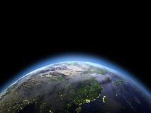 Oost-Azië van ruimte bij dageraad stock illustratie